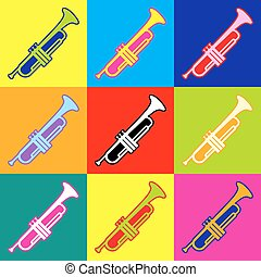 Trumpet vector icon, music signal sign