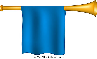 Trumpet with blue flag on white background