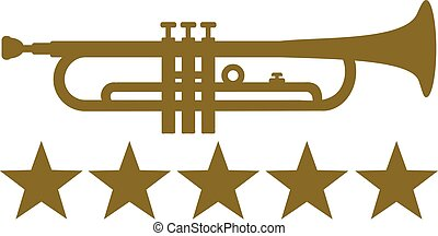 Trumpet with five golden stars