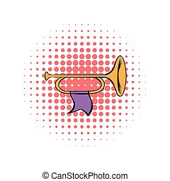 Trumpet with flag comics icon - Trumpet with purple flag...
