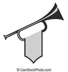 Trumpet with flag icon. Black Bugle Cartoon Illustration....
