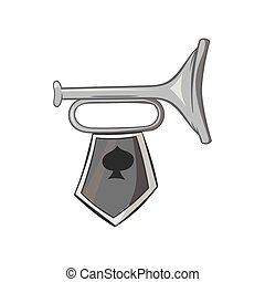 Trumpet with flag icon, black monochrome style