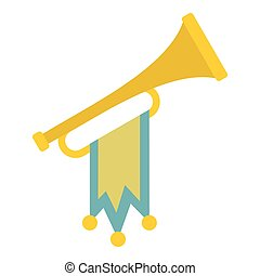 Trumpet with flag icon, flat style - Trumpet with flag icon....