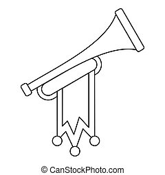 Trumpet with flag icon, outline style