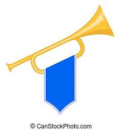 Trumpet with blue flag icon. Brass Bugle Cartoon Illustration. Horn Flat design. vector