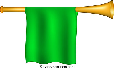 Trumpet with green flag on white background