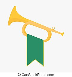 Trumpet with green flag icon Brass Bugle vector Illustration...