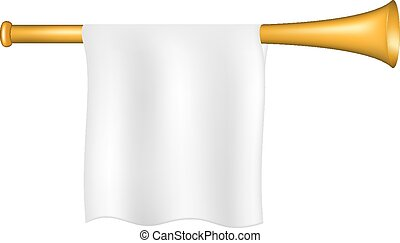 Trumpet with white flag on white background