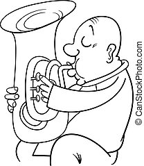 tuba coloring page - musical instrument the tuba vector illustration search