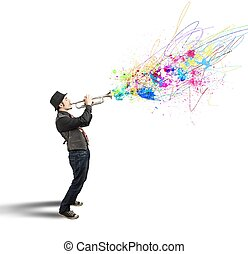 Trumpeter with colorful splash effect