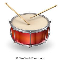 trumpinnar, trumma, röd