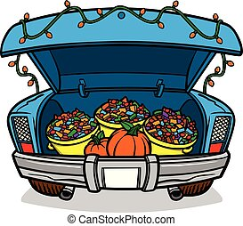 A cartoon illustration of a car trunk load of Candy for Halloween.