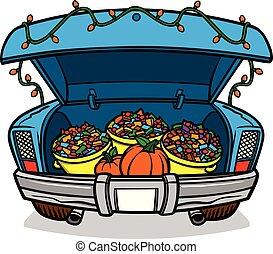 Trunk or Treat - A cartoon illustration of a car trunk load ...