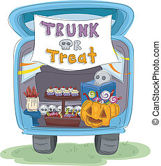 Trunk or Treat - Illustration Featuring the Trunk of a Car...