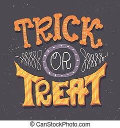 truque deleite, mão, lettering, cartão, para, dia das bruxas