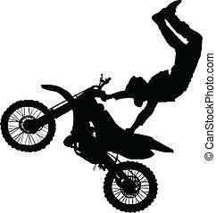 truque, executar, silueta, cavaleiro motocicleta