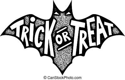 truque, ou, treat., morcego, silueta, isolado, branco,...