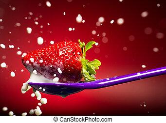 truskawka, na, przedimek określony przed rzeczownikami, purpurowy, łyżka, i, mleczny, splash., czerwony, tło.