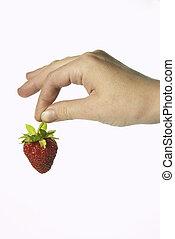 truskawka, ręka