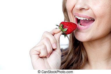 truskawka, szczelnie-do góry, kobieta jedzenie, młody
