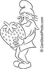 truskawka, transport, gnom, ogród, rysunek