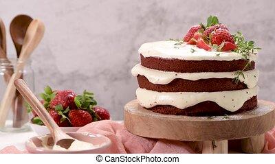 truskawki, ciastko, czerwony, aksamit