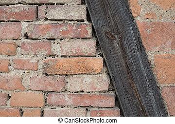 Truss and bricks on a house
