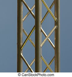 Truss - Steel truss beam structure over blue sky background