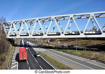 Truss Type Railway Bridge - A Warren truss steel girder...