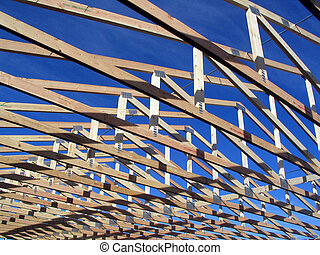 Trusses during construction on a house