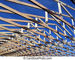 trusses, gedurende, bouwsector, op, een, woning