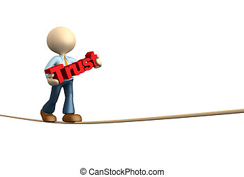 Trust - 3d people - man, person doing balance with word...