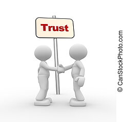 Trust - 3d people - men, person and board. Deal concept