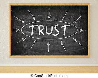 Trust - 3d render illustration of text on black chalkboard...