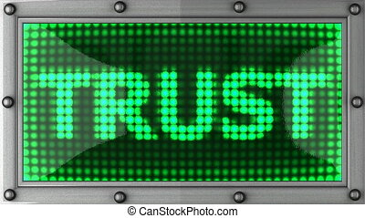 trust - announcement on the LED display