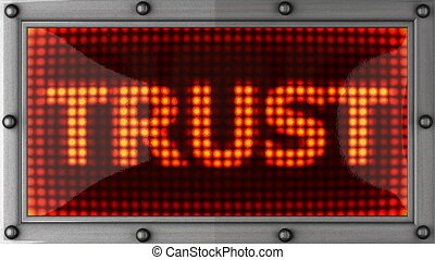 trust  announcement on the LED display