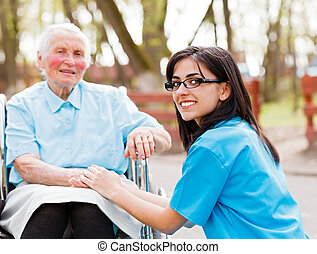 Trust - Beautiful doctor, nurse in blue coat walking a kind...