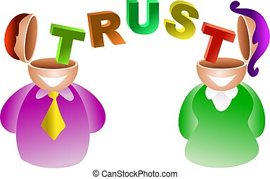 trust brain - do theses people trust each other - icon...