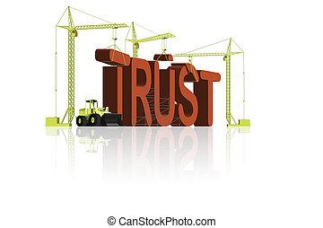 trust building - cranes building the word trust in big 3D...