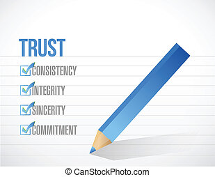 trust check mark list illustration design over a white...