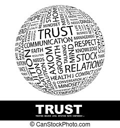 TRUST. Concept illustration. Graphic tag collection. ...