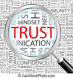 TRUST. Concept illustration. Graphic tag collection. Wordcloud collage.