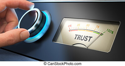 Trust Concept in Business - Hand turning a knob up to the...