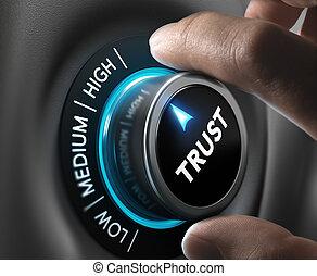 Trust Concept - Man fingers setting trust button on highest...