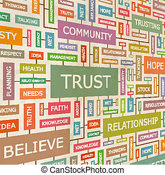 TRUST. Concept related words in tag cloud. Conceptual info-...