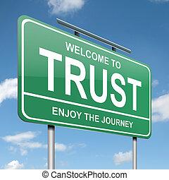 Trust concept. - Illustration depicting a green roadsign...