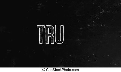 Trust concept written on blackboard. A trust or corporate trust is a large grouping of business interests with significant market power, which may be embodied as a corporation or as a group of corporations that cooperate with one another in various ways