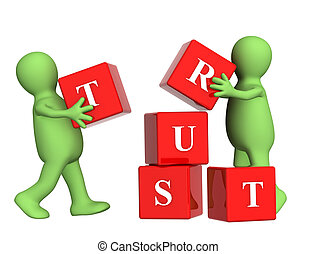 Trust - Conceptual image - success of teamwork. Objects...