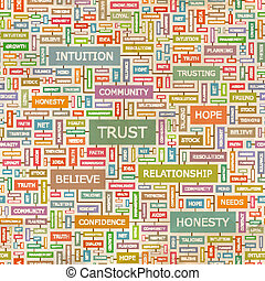 TRUST. Seamless pattern. Concept related words in tag cloud....