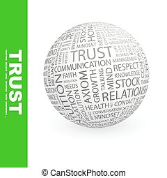 TRUST. Concept illustration. Graphic tag collection....